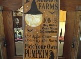 Full Moon Farms  primitive wood sign Halloween