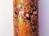 gold art deco cylinder vase