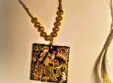 hand painted canvas reversible pendant cord necklace with tassel