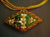 hand painted glass reversible pendant cord necklace