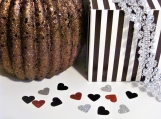 Heart Confetti, Silver, Red and Black Confetti