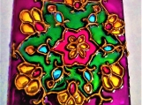 Indian art with Mughal motif on 3 x 3 glass tile