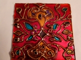 Indian art with Mughal / tehzib motif on 3 x 3 glass tile