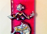 Indian dancer series - Hand painted pink glass pendant