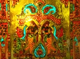"""Indian glass painting with Mughal and Rajasthani rani motif 12"""" x 12"""""""