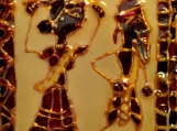 Indian tribal couple - Hand painted glass pendant