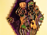 Indian tribal couple - Large diamond shaped Hand painted Indian glass pendant