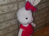 Lg Girl Easter Bunny with Dress handmade crochet, give that spec