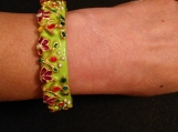 lime green Indian Mughal design painted bangle