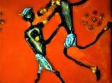 Mango tribal Indian dancing couple - Hand painted glass pendant
