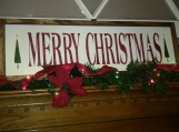 Merry Christmas sign w/border primitive wood sign