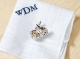 Monogrammed mens handkerchief