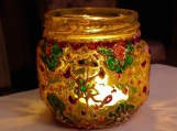 multicolor henna glass tealight candle holder / bud vase  | Moroccan Indian Mughal