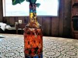 multicolored henna Bohemian Moroccan wine bottle vase   henna Indian Mughal