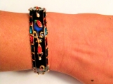 painted Indian vase and flowers motif- cuff bangle / bracelet