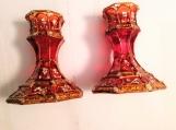 pair of hand painted red crystal candlestick holders - meenakari Indian design