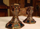 pair of hand painted silver grey and emerald crystal candlestick holders