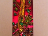 Peacock and tree mirror panel
