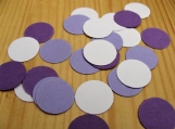 Purple and white circle confetti, wedding party decorations