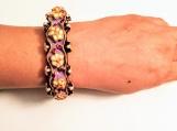 purple flower wristlet Indian painted cuff bracelet / bangle