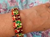 purple green Indian kada / cuff bracelet