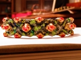 Roses and leaves Faberge design cuff bangle / bracelet