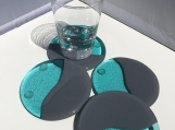 Round fused glass coasters