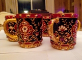 set of 5 glass hand painted mugs -  Indian meenakari design - special occasion