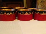 Set of 6 red black tea light candle holders