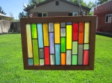 Stained glass lead panel, framed