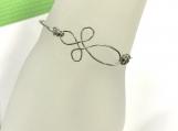 Sterling Silver Wire Cross Bracelet - Double Wire Bangle