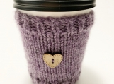 Tea/Coffee To Go Cozy, Purple Hot Beverage Cozy, Handmade Cozy