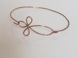 Antq. Copper Non-Tarnish Wire Cross Bracelet-Single Wire Bangle