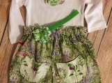 3-6 Month Onsie and Skirt Set with Matching Headband Bow