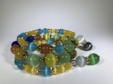 Beaded memory wire bracelet-Opal Agate-Cats eye-Turquoise beads