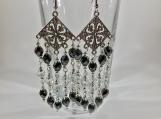 Black White Chandelier Earring, Black Earring, beaded earring
