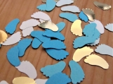 Blue and gold baby feet confetti