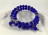 Blue bead bracelet, Crackle glass bead bracelet, women wrap brac