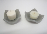 Candle holders, light grey, fused glass