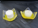 Candle holders, yellow, fused glass