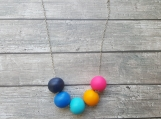 Colorful Wooden Beads Necklace - Neon colors - Hand painted