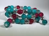 Czech bead bracelet, glass bead bracelet, sea Marble bead bracel