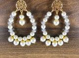 Czech bead earring, Pearl bead earring, White bead earring