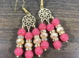Czech bead earring, Strawberry Red bead earring, Champagne bead