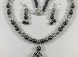 Czech bead necklace, Hematite Czech jewelry,Black bead necklac