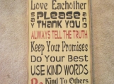 Famity Rules,  primitive wood sign