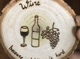 Funny Wine Coaster, Wood Table Coaster, Wine Bar Coaster