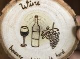 Funny Wine Coaster, Wood Table Coaster, Wine Bar Coaster