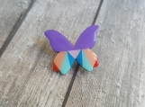 Butterfly Pin - Wooden Jewelry - Geometrical Pattern