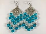 Glass bead earring, Teal bead earring, Blue Teal bead earring